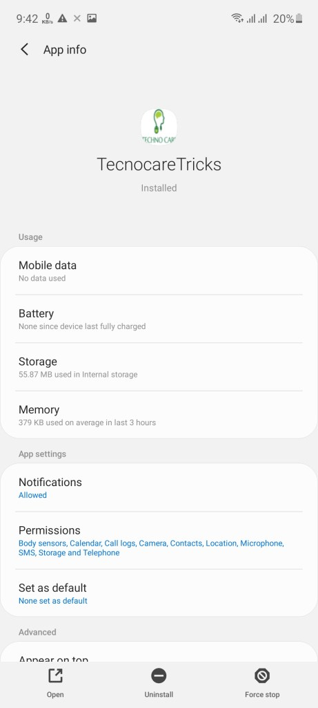 Screenshot of Technocare App