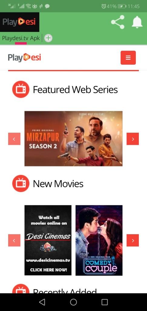 Screenshot of Playdesi.TV App