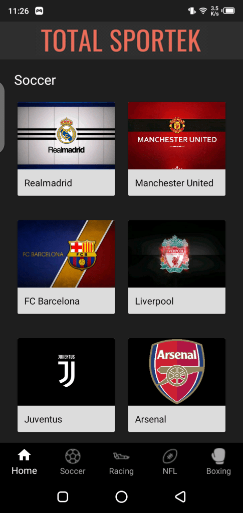 Screenshot of TotalSportek App