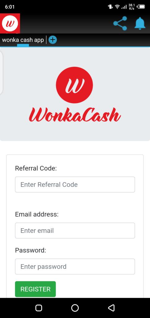Screenshot of Wonka Cash App