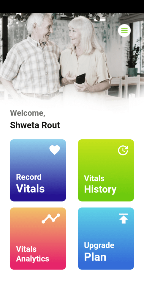 Screenshot of CarePlex Vitals App