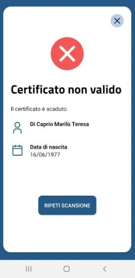 Screenshot of VerificaC19 App