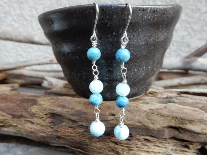 SOLD! larimar, blue opal and amazonite