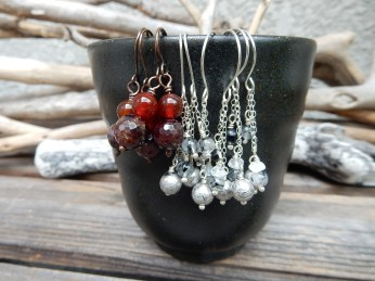 Garnet and Meteorite earrings