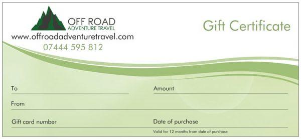 4x4 gift vouchers
