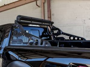 """Ford Raptor Race Series Chase Rack with ADD Logo and 2017 grill patern in sides and NO tire carrier and light actuator kit with upper light bar kit for 50"""" LED mount and rear facing light tabs in Hammer Black with Satin Black panels"""