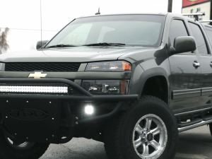 """2004 - 2012 Chevy Colorado Stealth Front Bumper with 30"""" light bar mounts with Dually Mounts on Sides in Hammer Black with Satin Black Panels"""