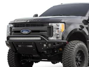 "Ford F250 2017 - up Stealth ""R"" Front Bumper with 10 dually mounts/universal plate on top and 20"" LED mount in center and dually mounts on sides in Hammer Black with Satin Black panels"