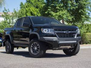 """Chevy Colorado ZR2 Stealth Fighter Front Bumper with dually mounts/30"""" universal mount and 6"""" SR mounts on outer with D-ring Clevis Mounts in Hammer Black with Satin Black Panels"""