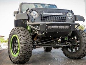 "Jeep JK Venom Bumper with 20"" Light Bar in Hammer Black with Satin Black panels"