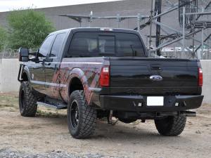 1999 - 2016 Ford F-250/350 HoneyBadger Rear Bumper with lockable storage space and a pair of dually mounts in Hammer Black with Satin Black panels (Does not fit Platinum Edition F-250/350s)