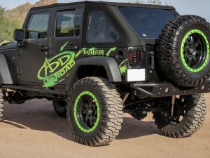 Jeep JK Venom Rear Bumper with Dually mounts in Hammer Black with Satin Black panels.