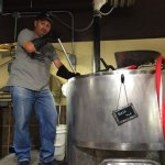 Joe stirring the mash