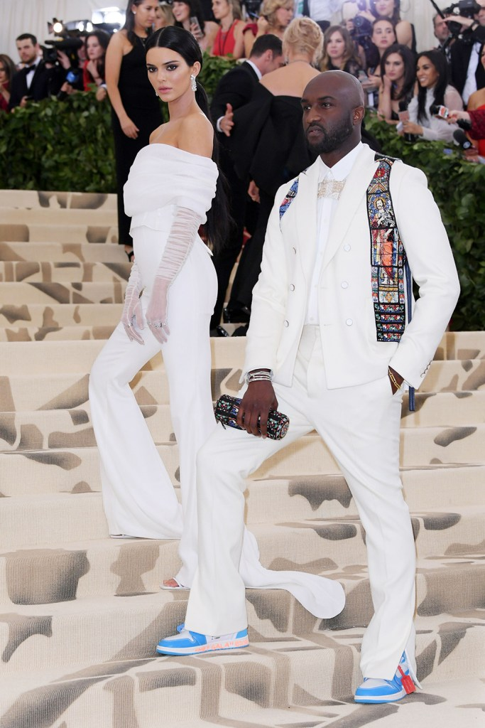 Mandatory Credit: Photo by David Fisher/REX/Shutterstock (9662983hx) Kendall Jenner and Virgil Abloh The Metropolitan Museum of Art's Costume Institute Benefit celebrating the opening of Heavenly Bodies: Fashion and the Catholic Imagination, Arrivals, New York, USA - 07 May 2018 WEARING OFF-WHITE