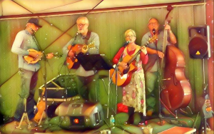 Big Fish is the featured group for the August 11 Stage Left Open Mic (L to R, Marty Brunkalla, Kent Fishburn, Deb Firak, Al Fife).
