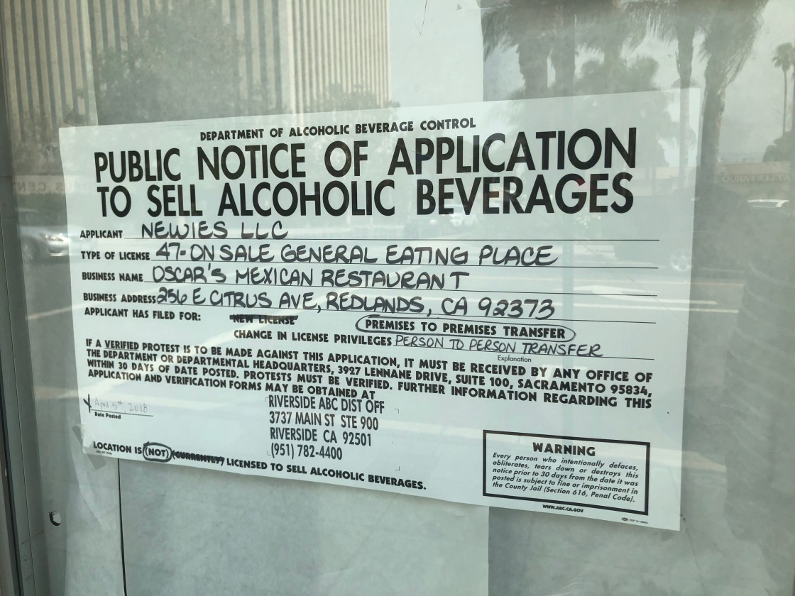 Oscar's application to sell alcoholic beverages.