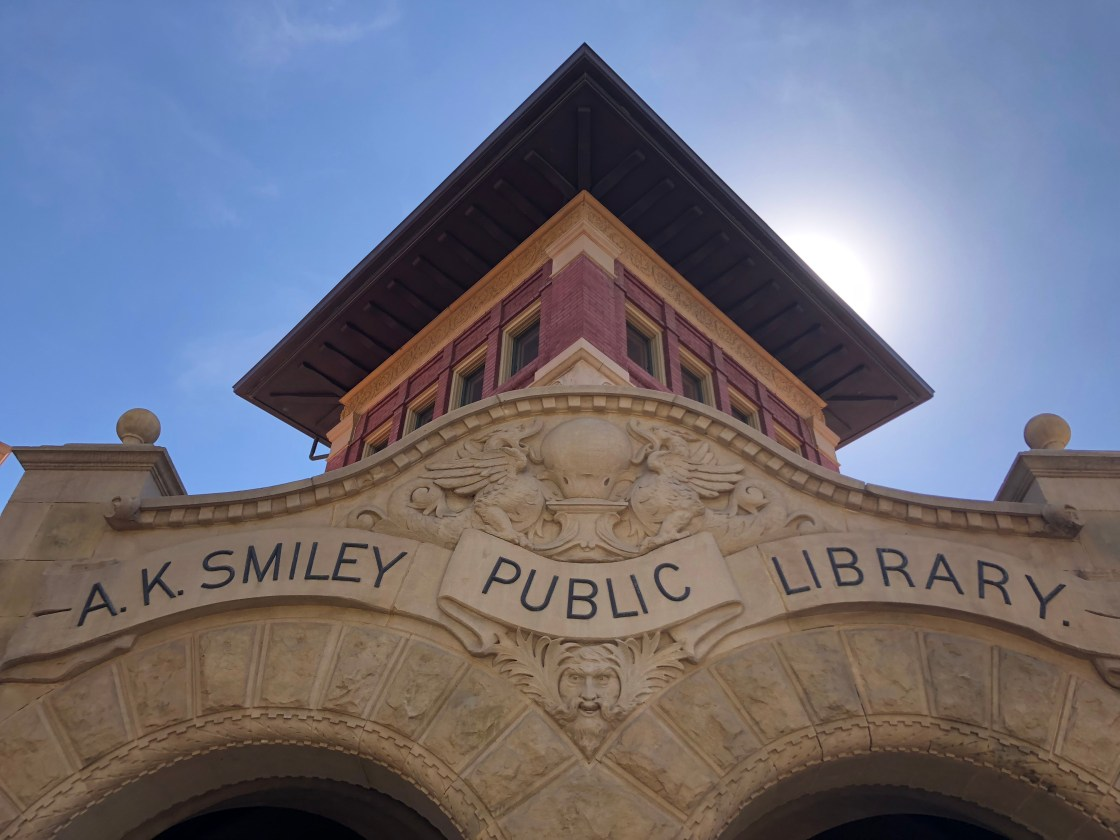 A.K. Smiley Library entrance