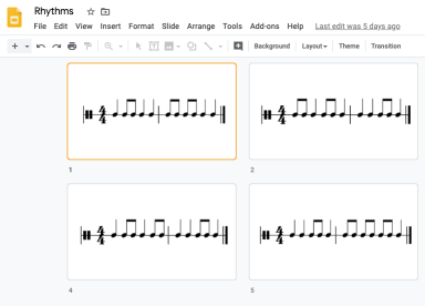Rhythm Flashcards created in Google Slides
