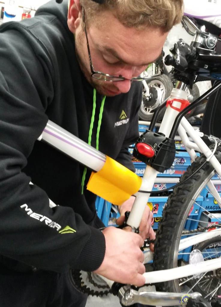 Servicing a bike in our workshop