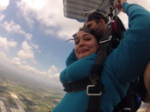 Parachuting after skydiving
