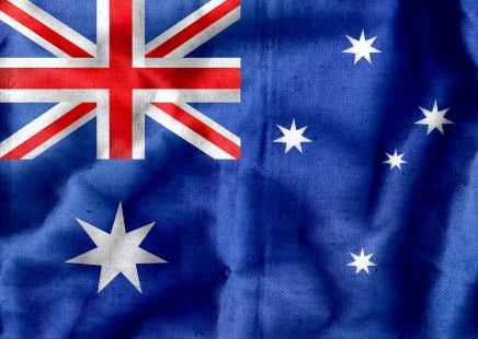 textile australian flag with crumples