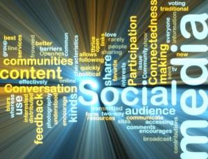 social media word cloud glowing