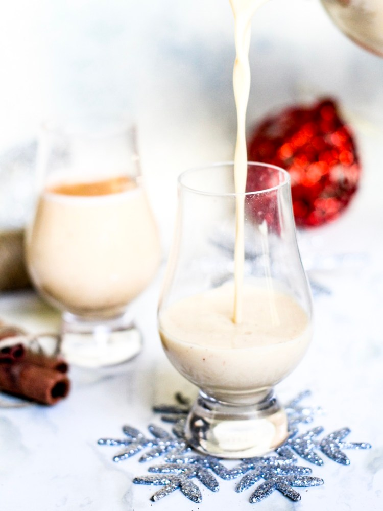 Pouring Eggnog in Glass