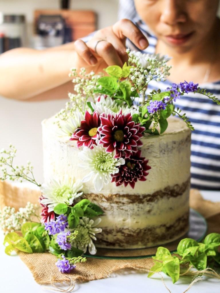 flower gluten free coconut carrot cake