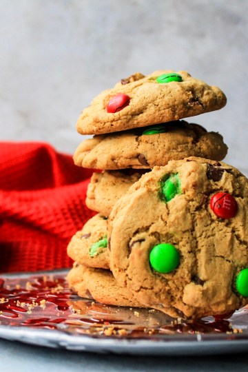 Gluten Free M&M Chocolate Chip Christmas Cookies