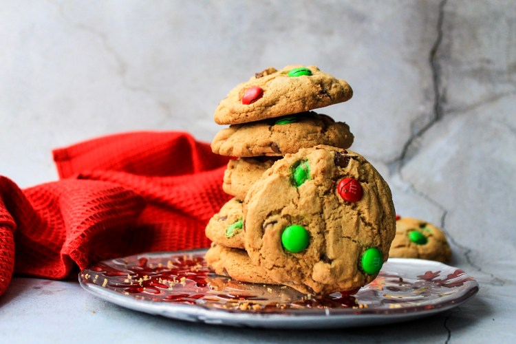 Gluten Free M&M Chocolate Chip Christmas Cookies