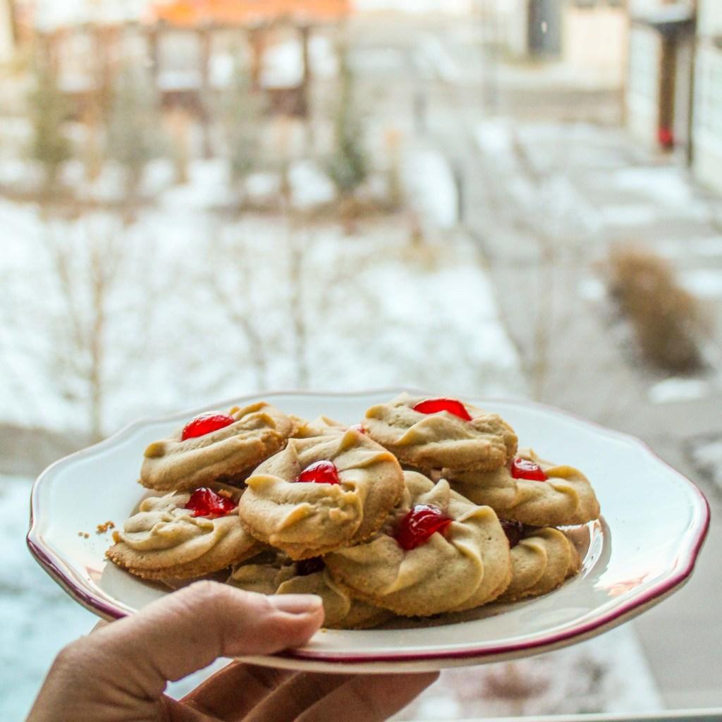 Gluten Free Butter Cookies in snow