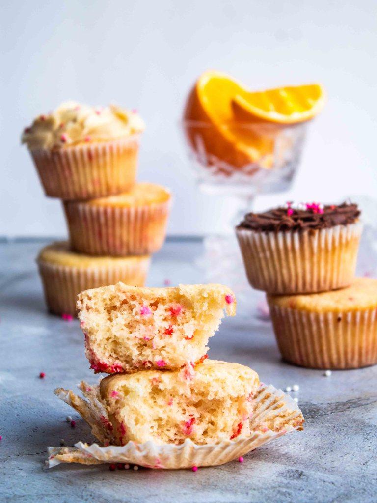 Gluten Free Citrus Sponge Cupcakes showing Sprinkles