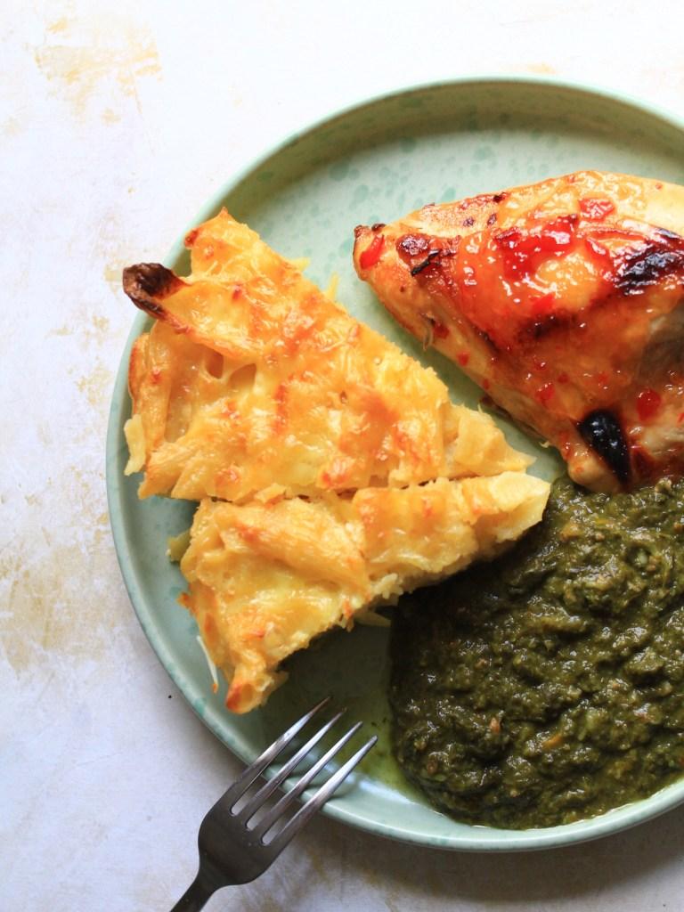Macaroni Pie, Callaloo and Chicken