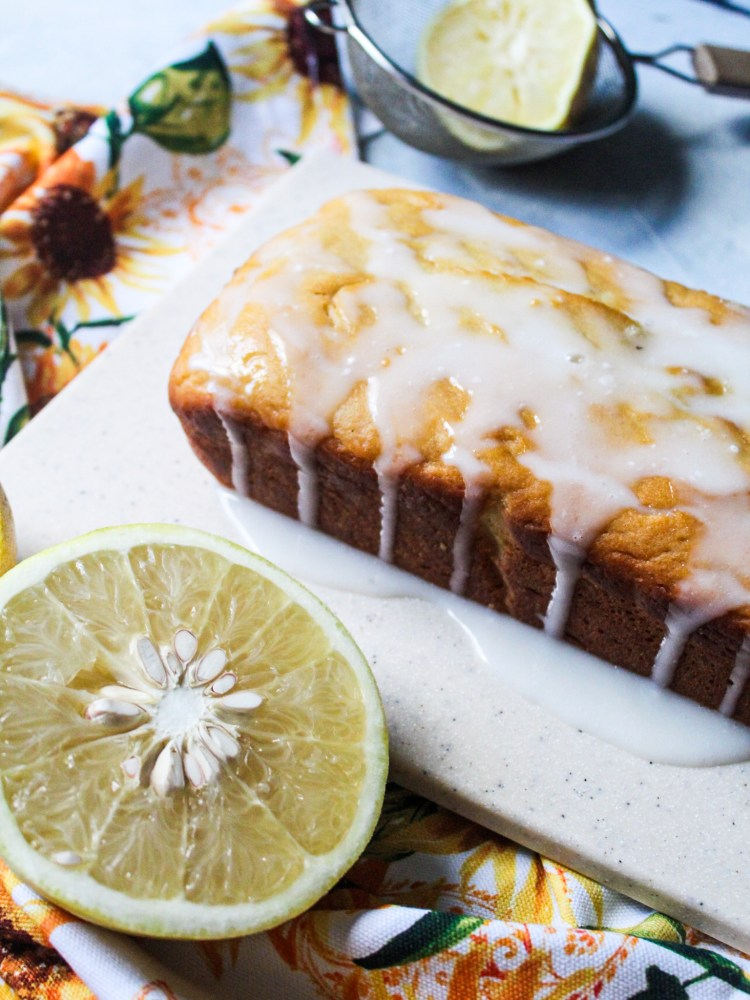 Gluten free Grapefruit Pound Cake with glaze wide