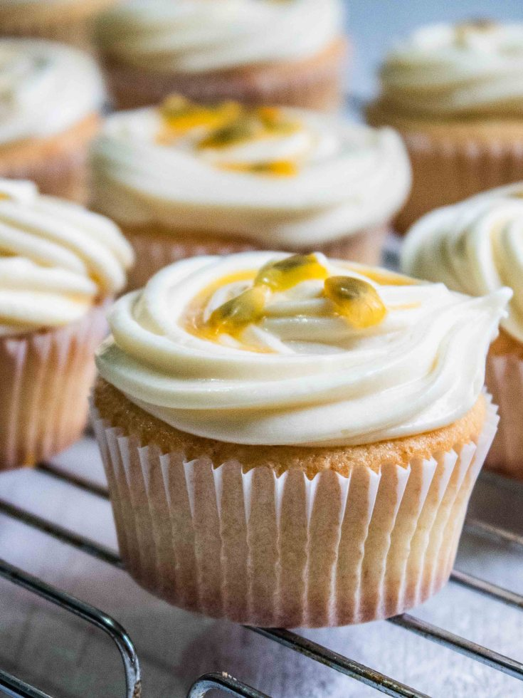 Passion Fruit Cupcakes with Cream Cheese Frosting