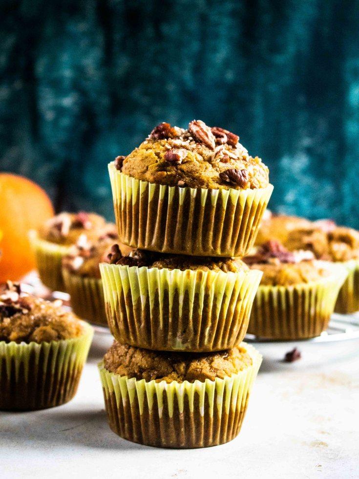 gluten free vegan pumpkin pecan muffin