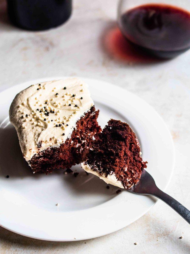 Red Wine Chocolate Cake (Gluten Free + Dairy Free)