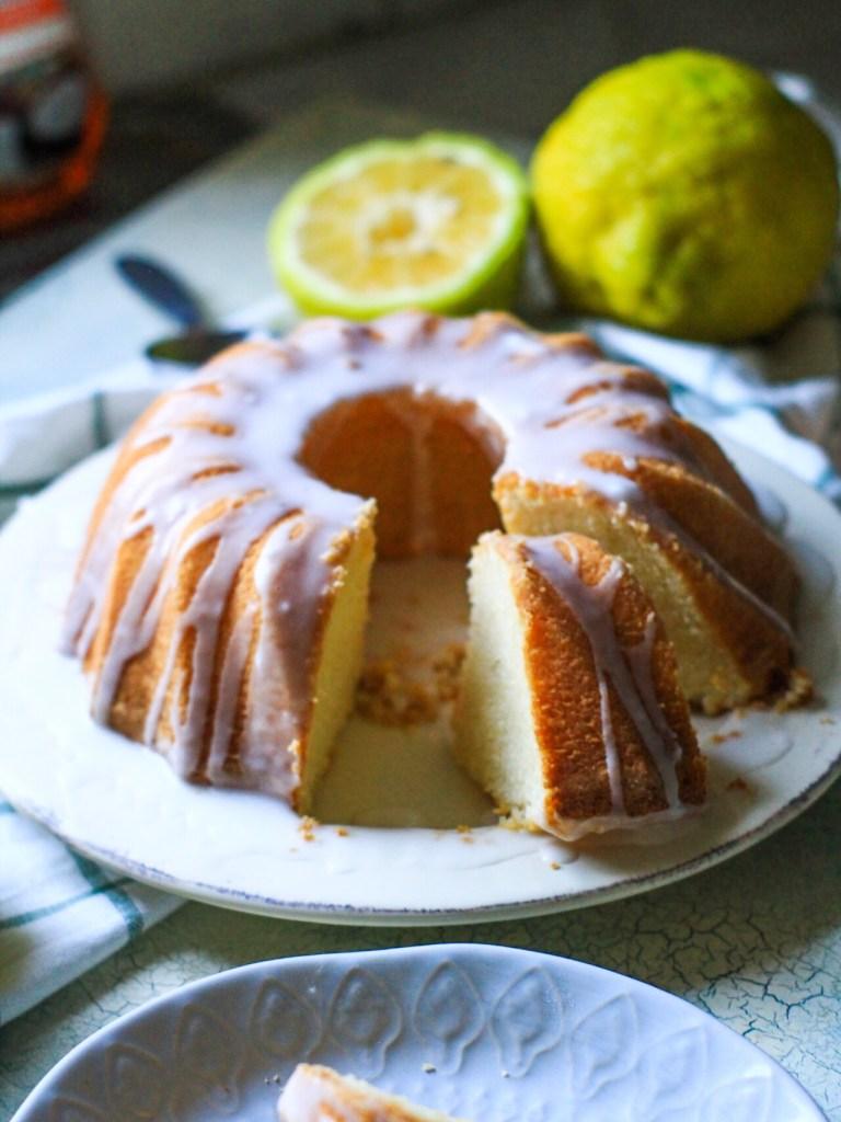 gluten free lemon sponge bundt cake slice