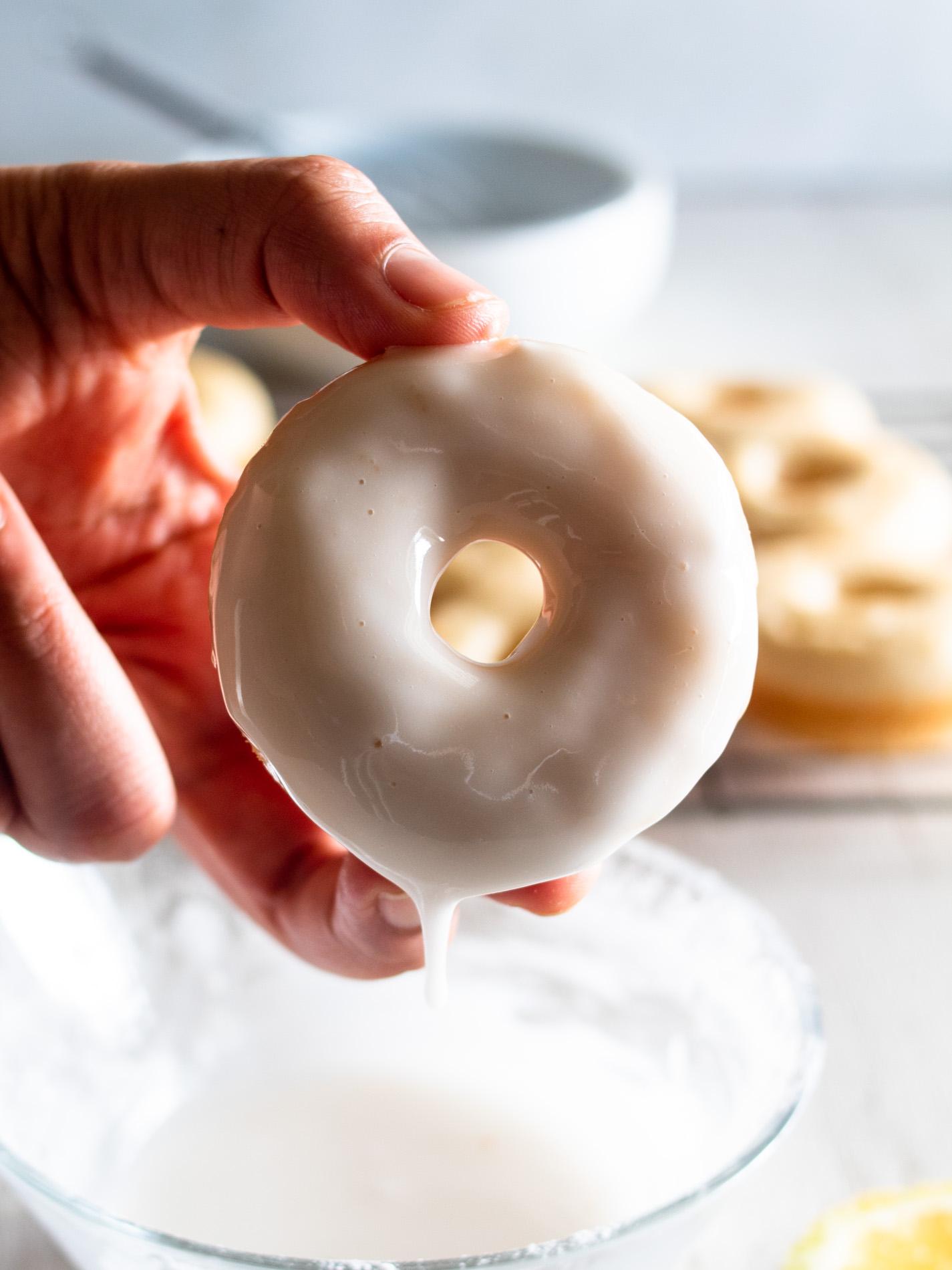 Dipped gluten free lemon glazed donut