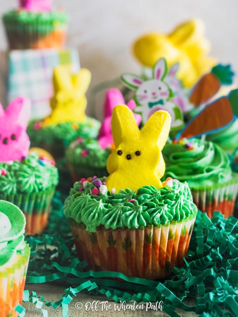 Garden of Easter Peep Bunny cupcakes