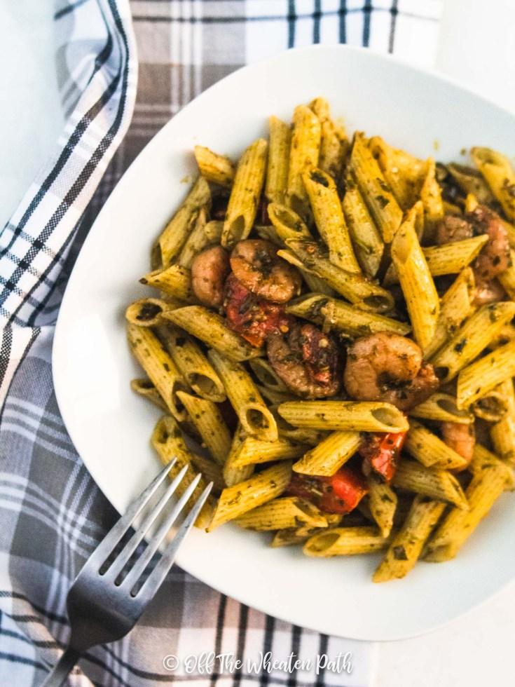 Easy Gluten Free Shrimp Pesto Pasta