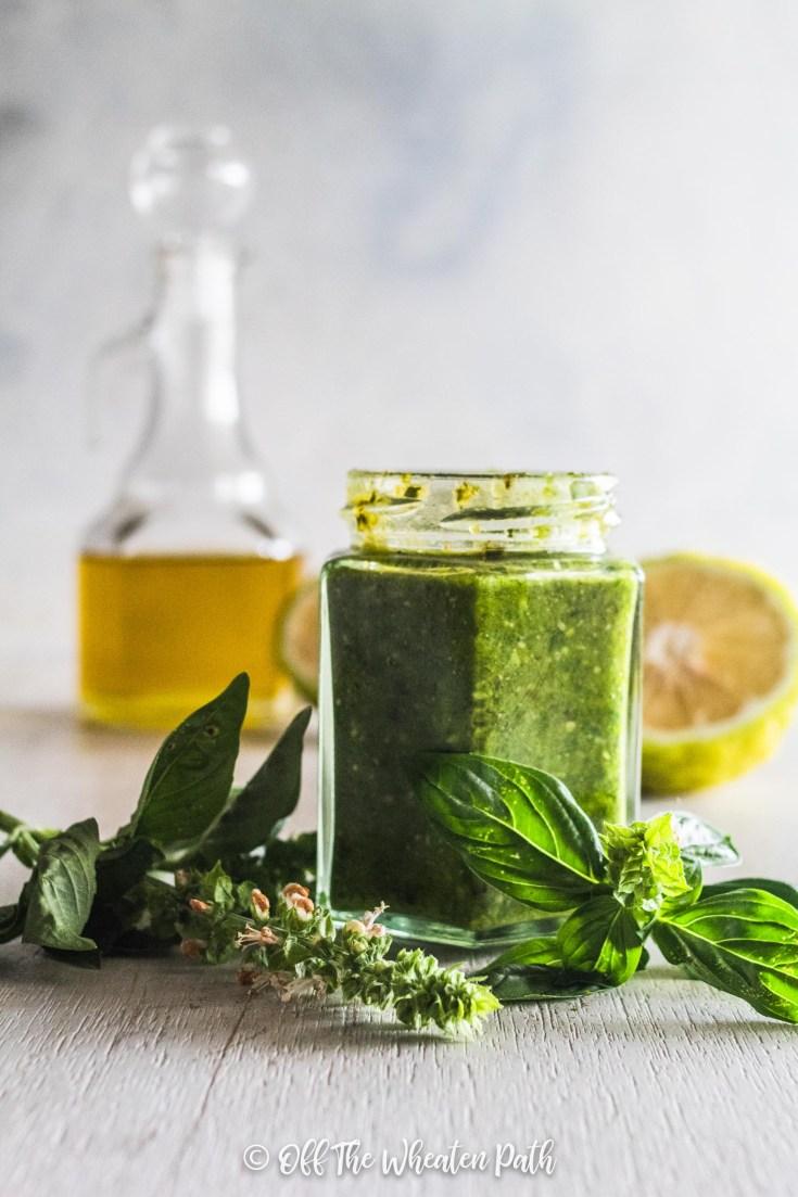 Allergy Friendly pesto in a jar