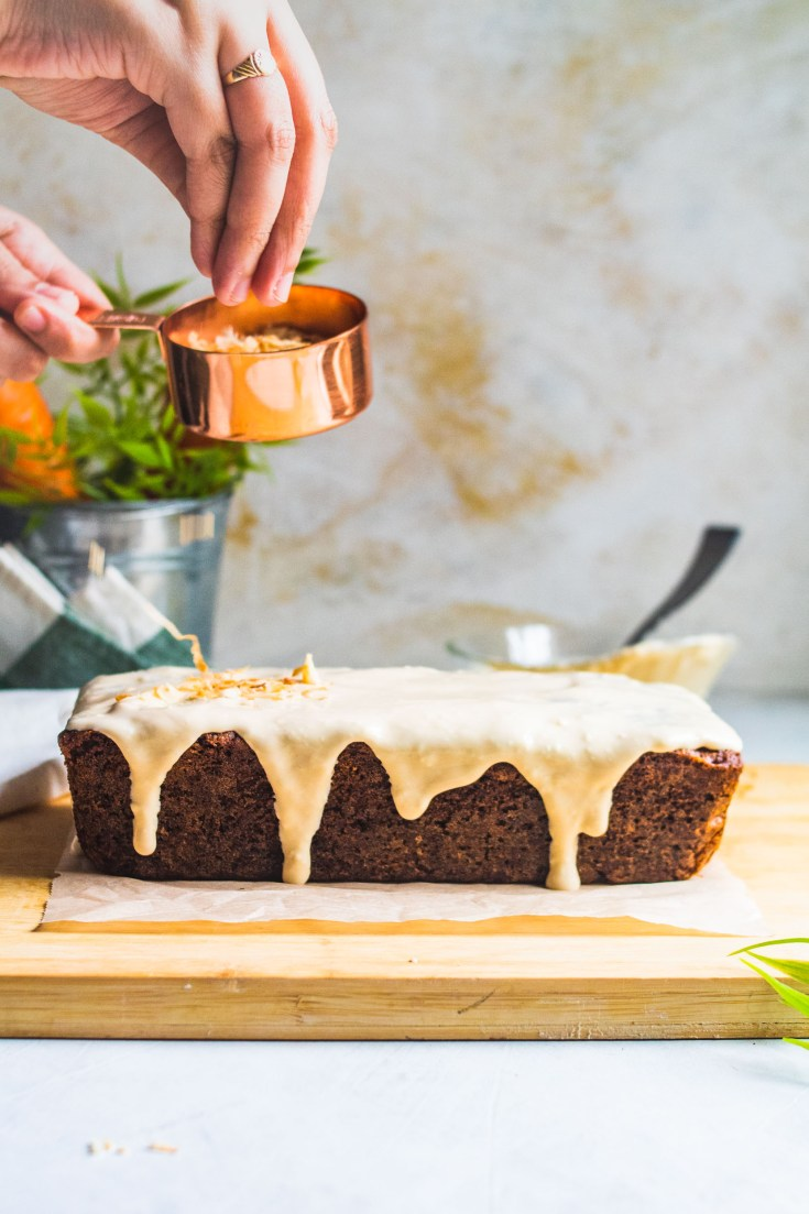 Gluten Free Carrot Loaf with cream cheese glaze