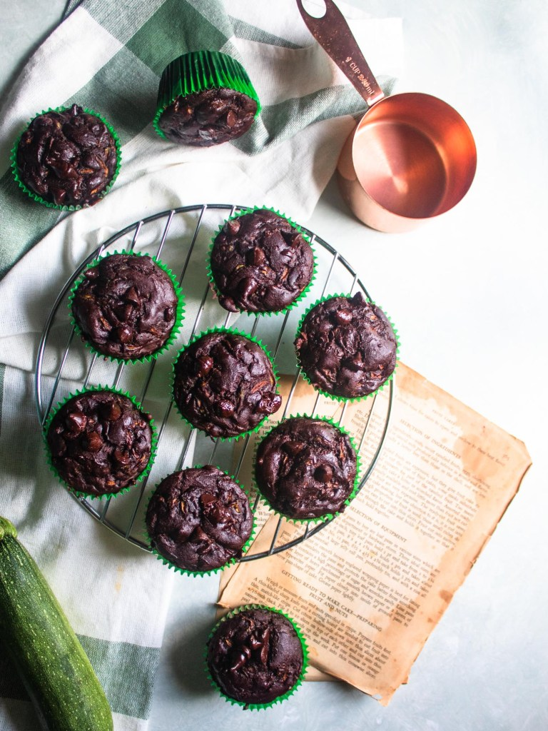 Flat lay of the gluten free dairy free chocolate zucchini muffins before serving.