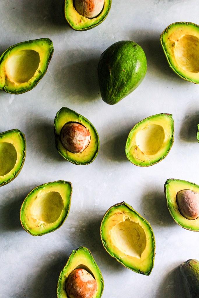 Flat lay of Avocados