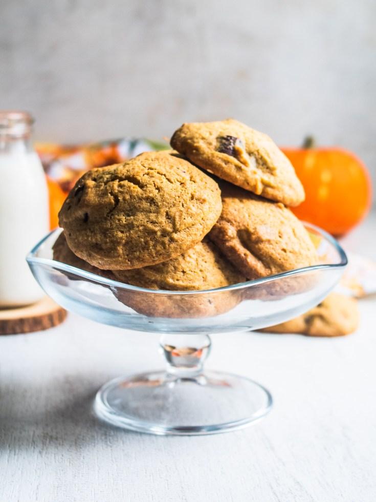 Stack of pumpkin chocolate chunk cookies