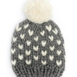 Handmade wool hats - Grey bobble hat with Ivory heart detail and pom pom. Click to customise.