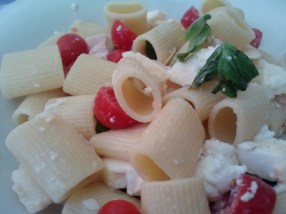 Pasta fredda, cold pasta with tomatoes, mozzarella, and basil