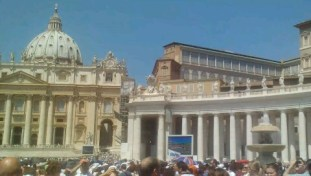 Some of the big screens set up for the Pope's address.