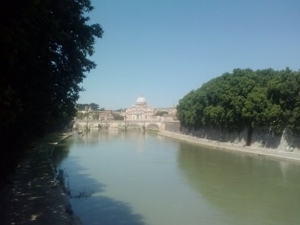 The view of San Pietro from the Tiber River.
